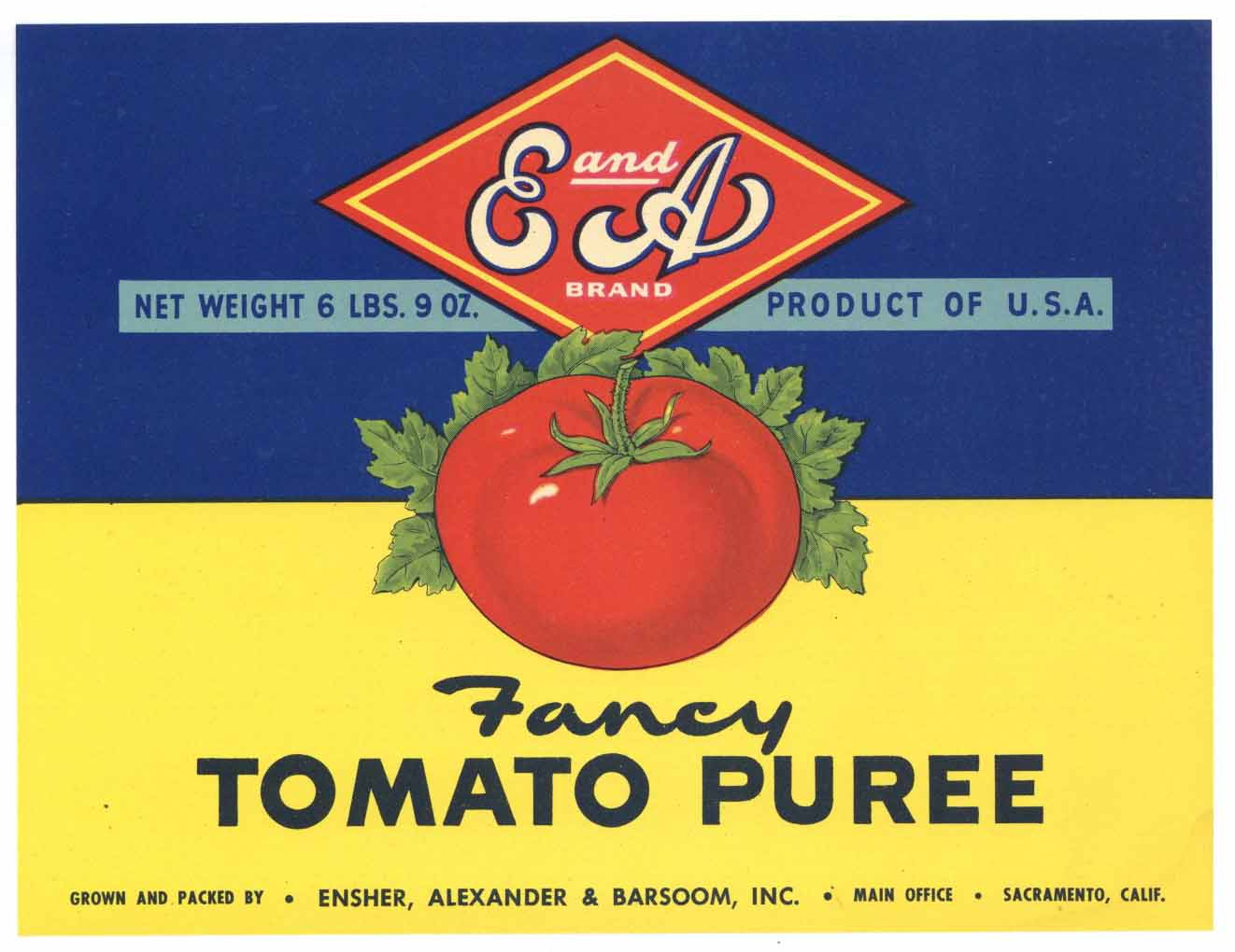 E and A Brand Vintage Tomato Puree Can Label