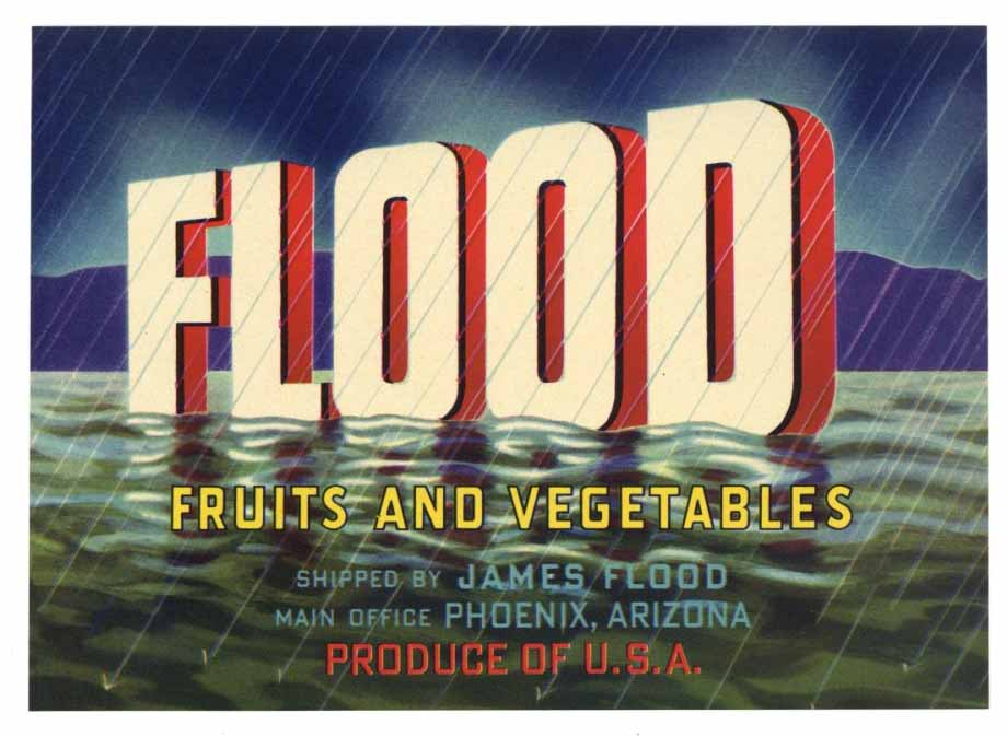 Flood Brand Vintage Arizona Produce Crate Label, s