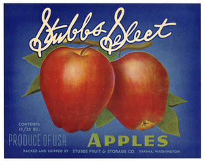 Stubbs Select Brand Vintage Yakima Washington Apple Crate Label, gp