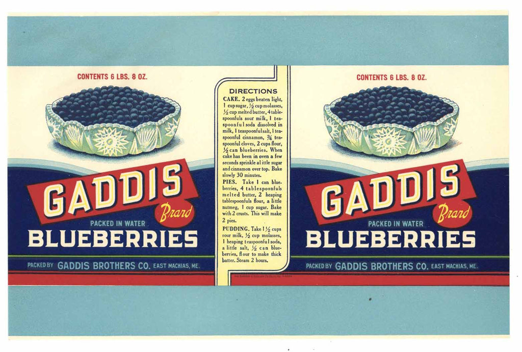 Gaddis Brand Vintage Maine Blueberry Can Label