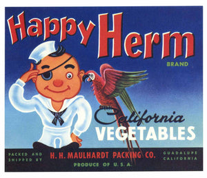 Happy Herm Brand Vintage Santa Barbara County Vegetable Crate Label, s