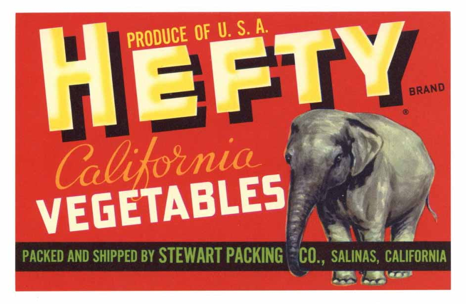 Hefty Brand Vintage Salinas Produce Crate Label
