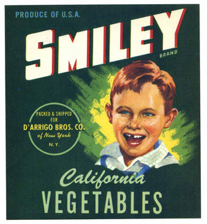 Smiley Brand Vintage Vegetable Crate Label