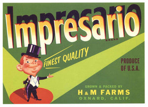 Impresario Brand Vintage Oxnard Vegetable Crate Label