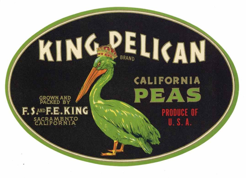 King Pelican Brand Vintage Pea Crate Label