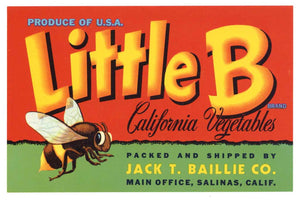 Little B Brand Vintage Salinas Vegetable Crate Label
