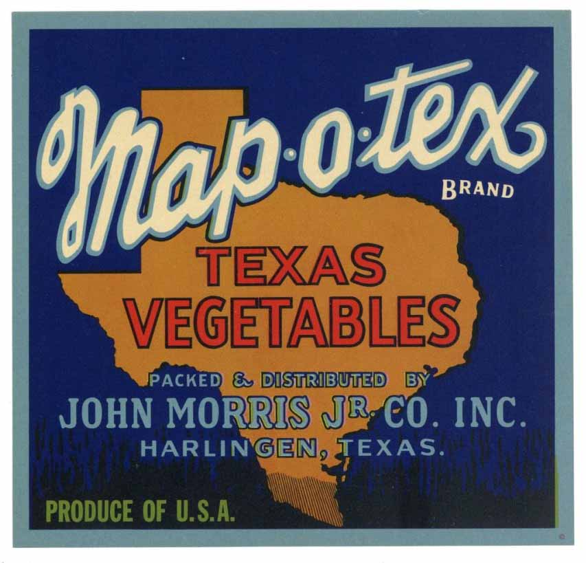 Map O Tex Brand Vintage Texas Vegetable Crate Label
