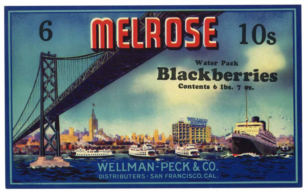Melrose Brand Vintage Blackberry Can Label