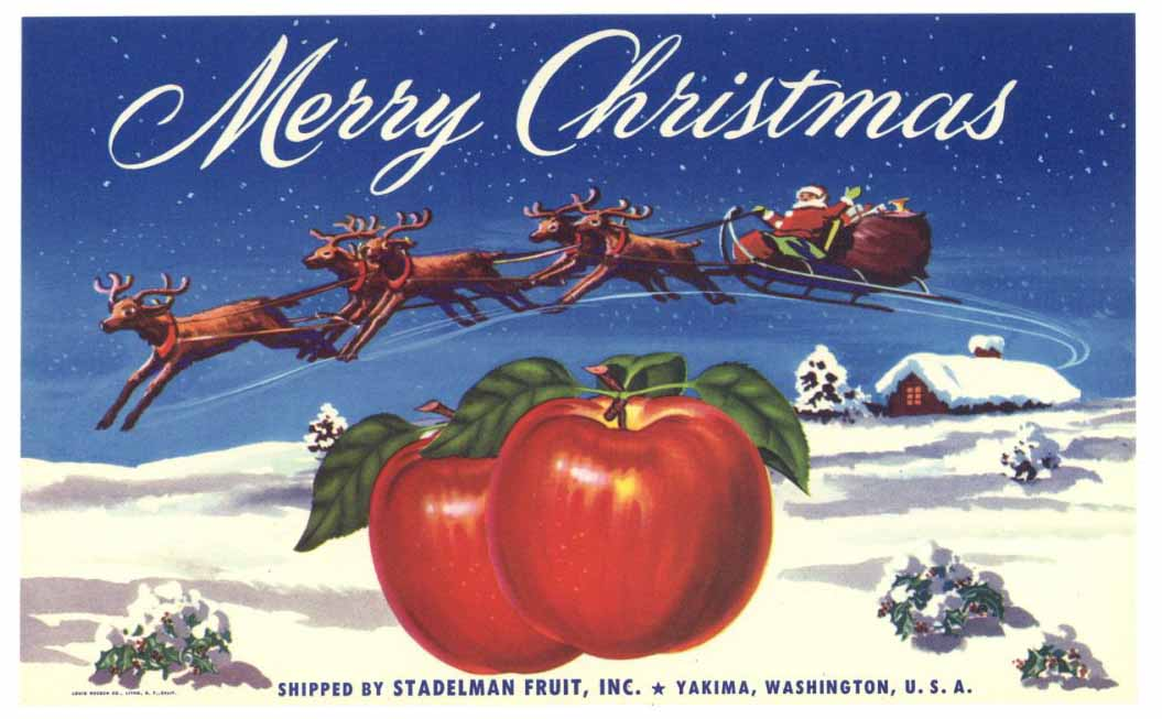 Merry Christmas Brand Vintage Apple Crate Label, b