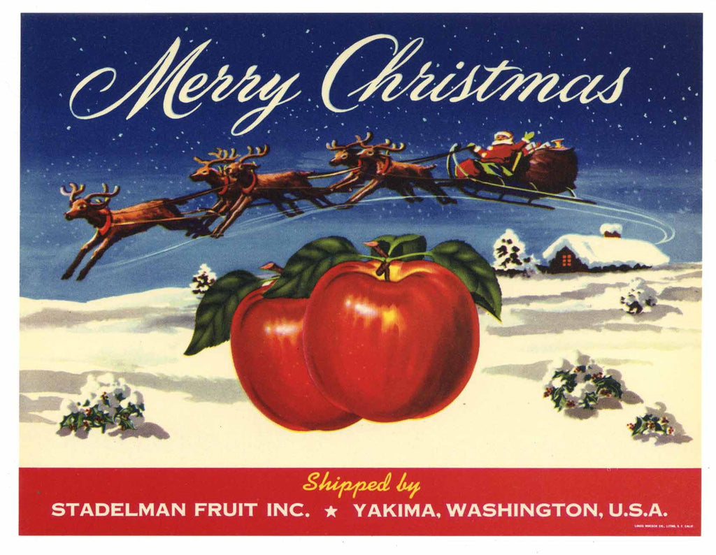 Merry Christmas Brand Vintage Yakima Washington Apple Crate Label, gp, red