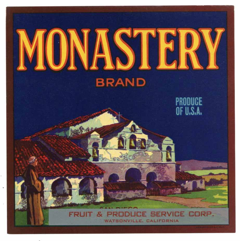 Monastery Brand Vintage Watsonville Produce Crate Label