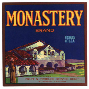 MONASTERY Brand Vintage Produce Crate Label (VS090)