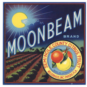 Moonbeam Brand Vintage Oviedo Florida Citrus Crate Label 7x7, o