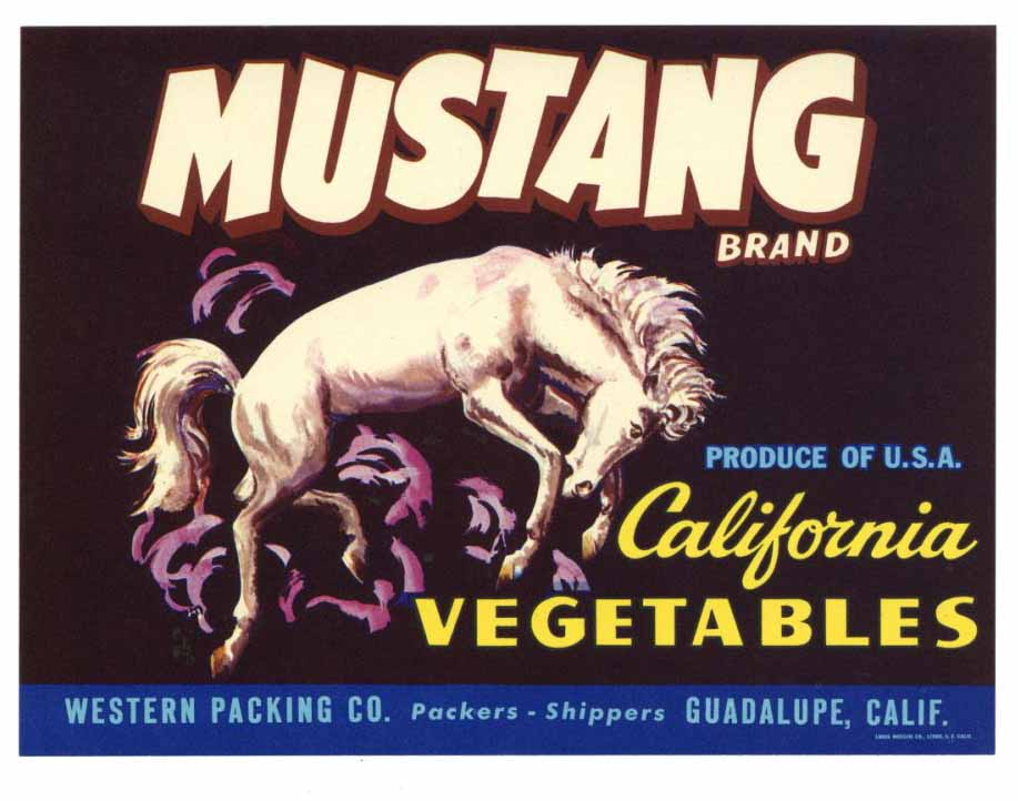Mustang Brand Vintage Produce Crate Label, s