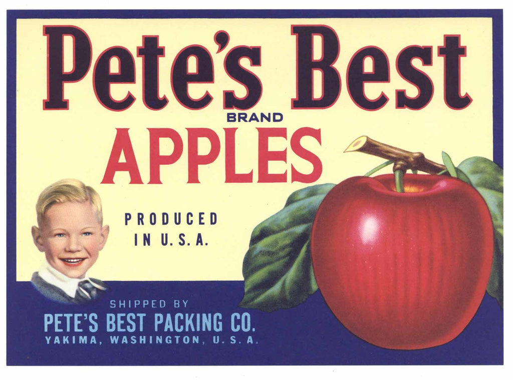 Pete's Best Brand Vintage Yakima Washington Apple Crate Label, gp