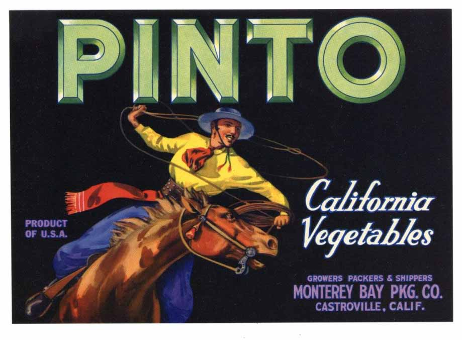 Pinto Brand Vintage Monterey Bay Pkg. Produce Crate Label, s
