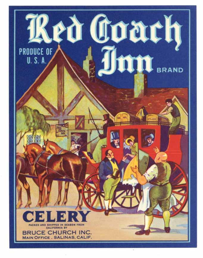 Red Coach Inn  Brand Vintage Salinas Celery Crate Label