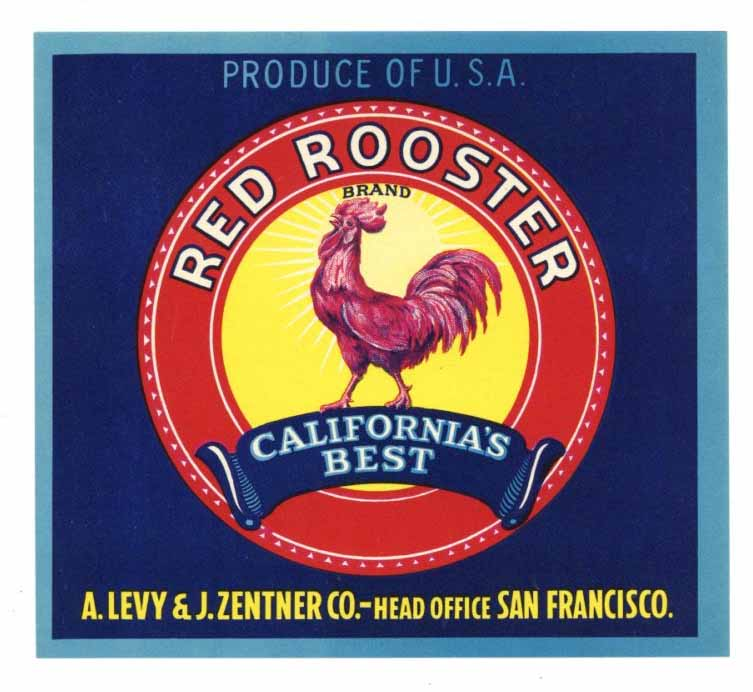 Red Rooster  Brand Vintage Produce Crate Label
