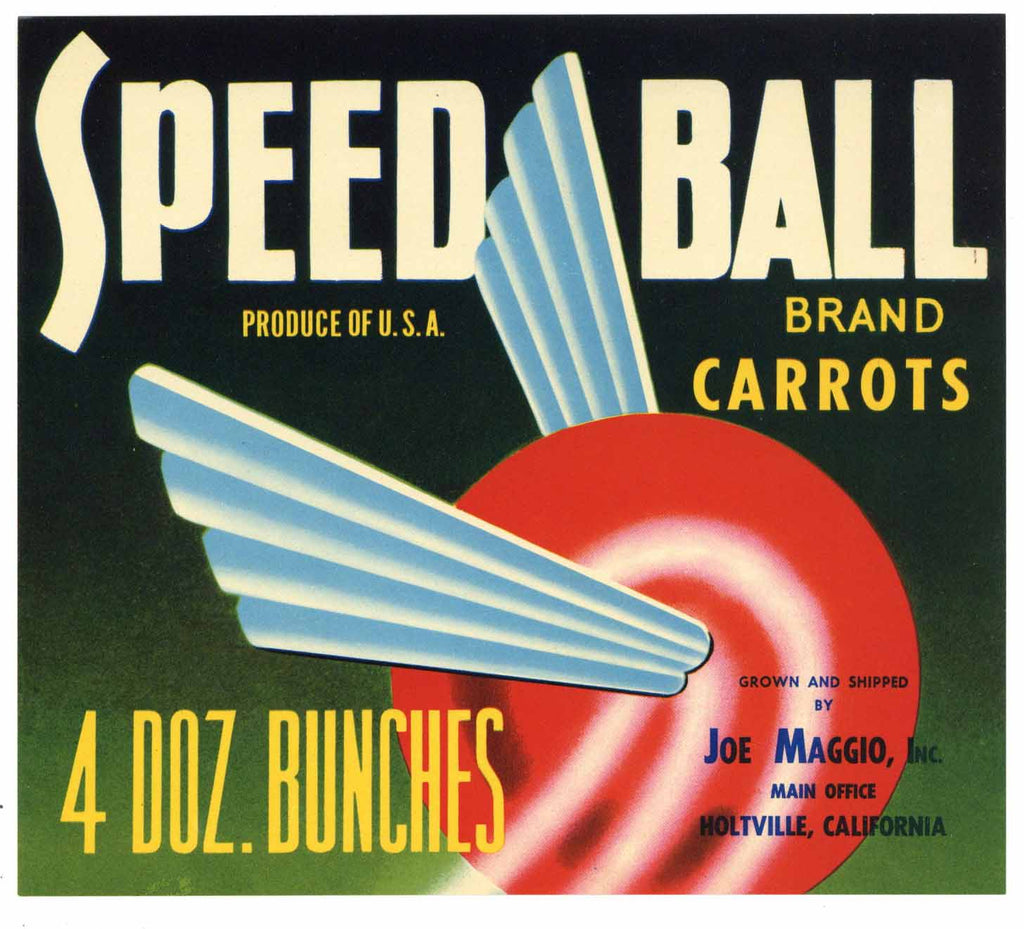 Speed Ball Brand Vintage Carrot Crate Label