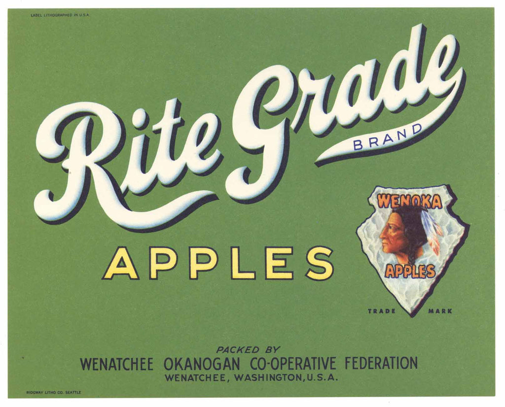 Rite Grade Brand Vintage Wenatchee Washington Apple Crate Label, gp