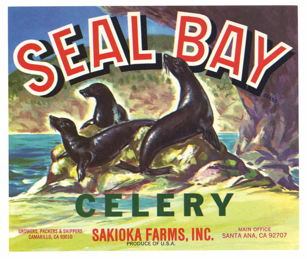 Seal Bay Brand Vintage Santa Ana Vegetable Crate Label