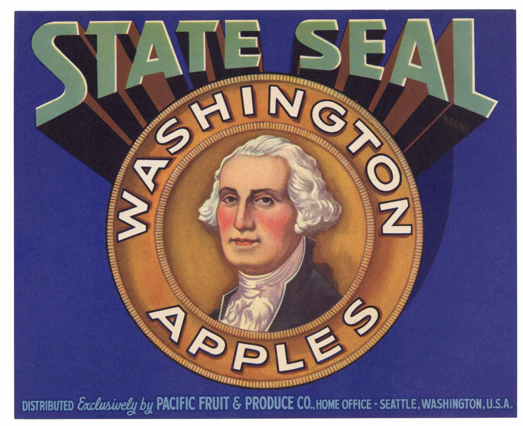 State Seal Brand Vintage Washington Apple Crate Label, gp