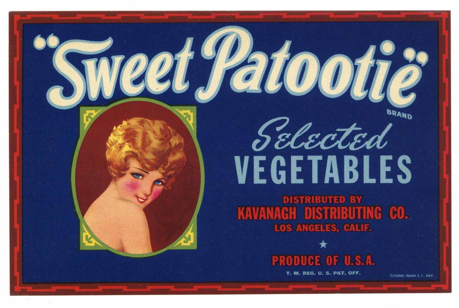 Sweet Patootie Brand Vintage Vegetable Crate Label, m