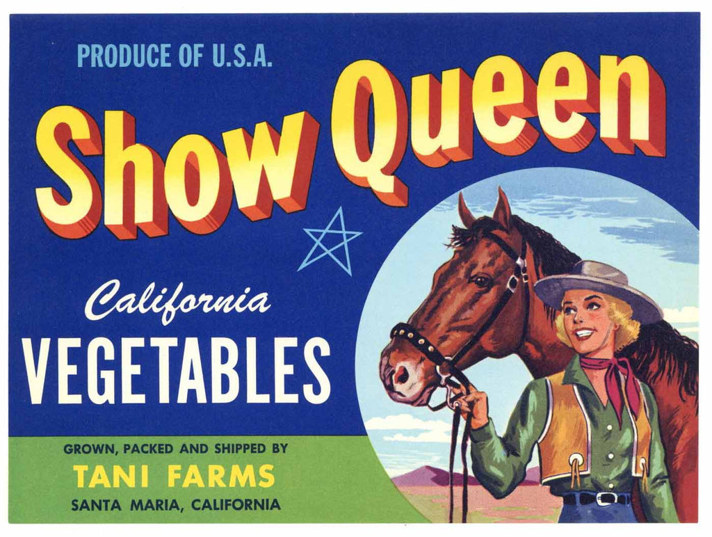 Show Queen Brand Vintage  Santa Maria Vegetable Crate Label