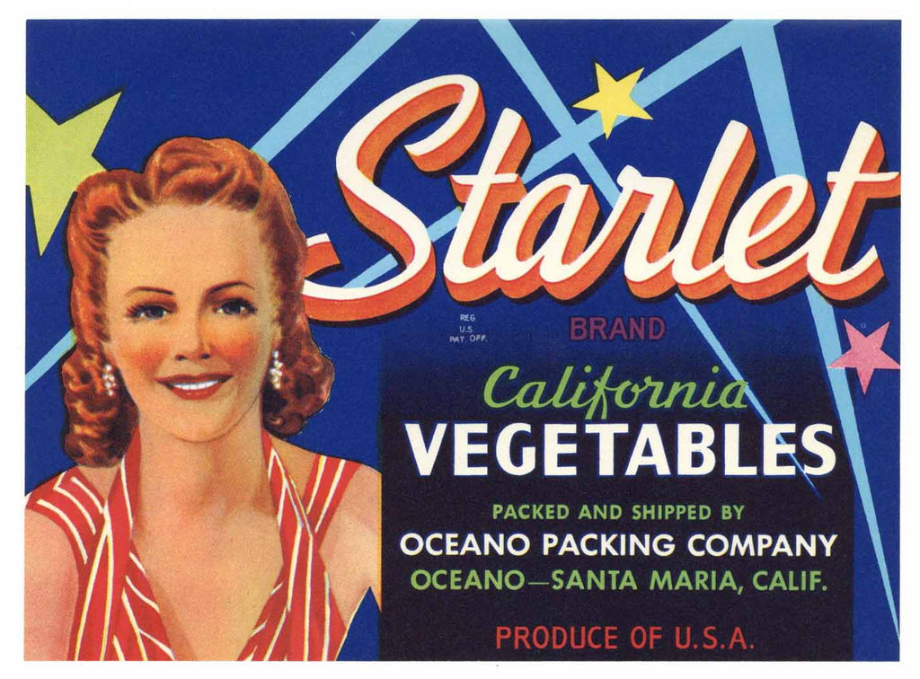 Starlet Brand Vintage Oceano Vegetable Crate Label, girl
