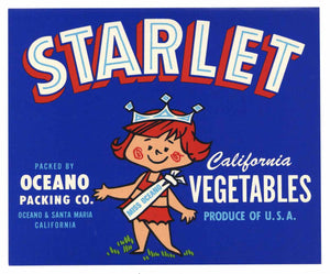 Starlet Brand Vintage Oceano Vegetable Crate Label, cartoon