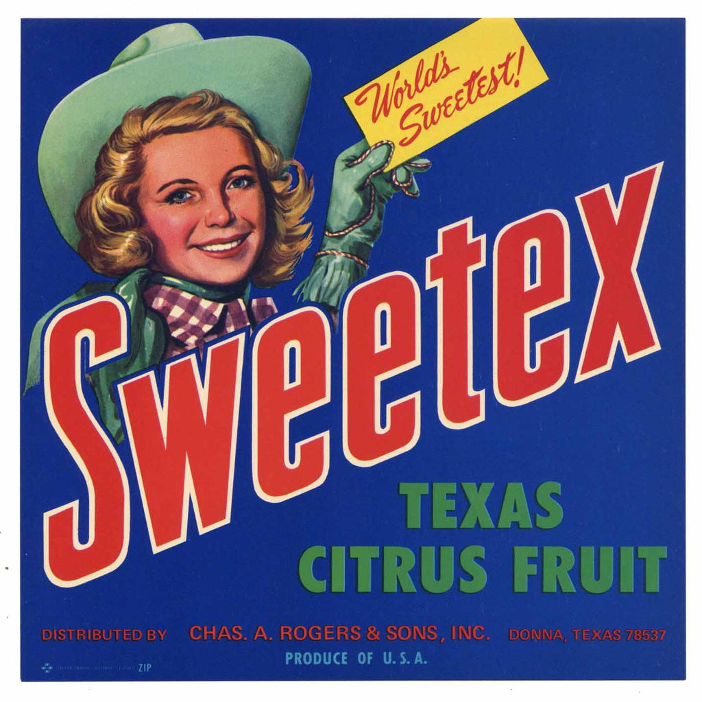 Sweetex Brand Vintage Weslaco Texas Citrus Crate Label, 7x7