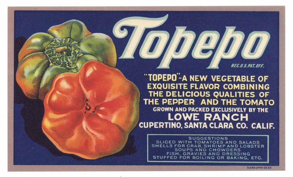 Topepo Brand Vintage Cupertino Pepper Crate Label