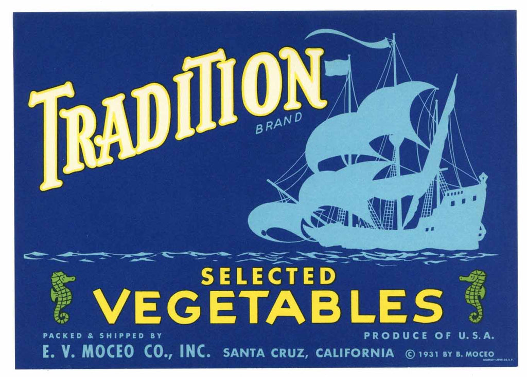 Tradition Brand Vintage Santa Cruz Vegetable Crate Label