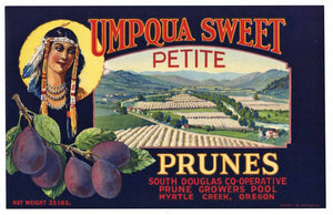 Umpqua Sweet Brand Vintage Oregon Prune Crate Label