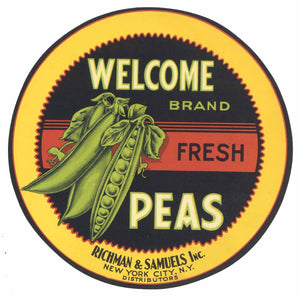Welcome Brand Vintage Fresh Peas Crate Label