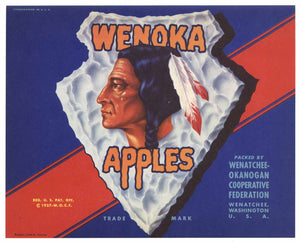 Wenoka Brand Vintage Washington Apple Crate Label, gp