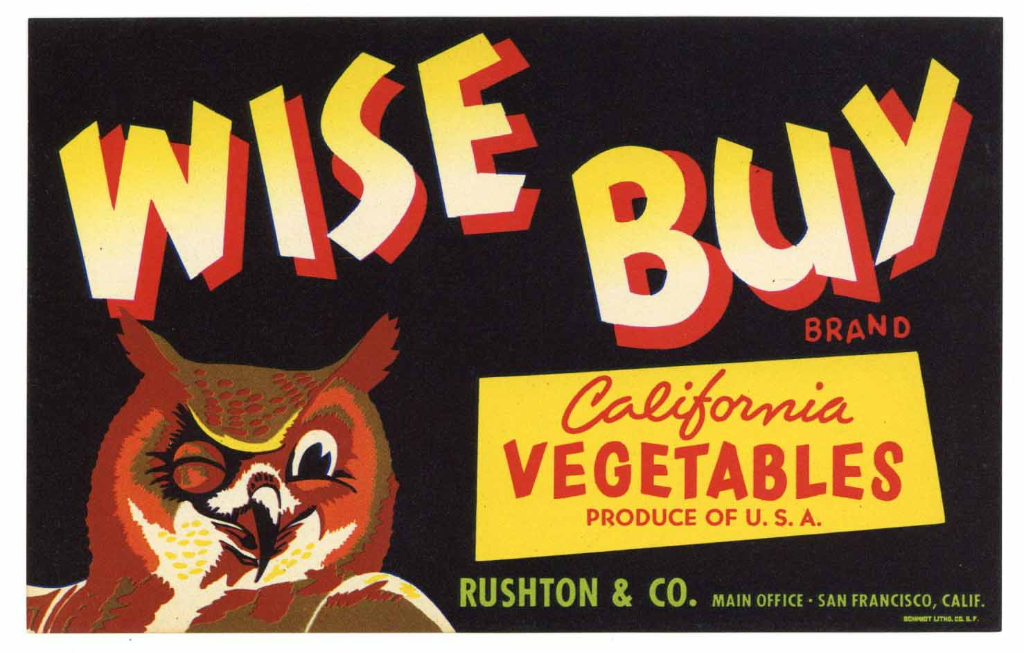 Wise Buy Brand Vintage Vegetable Crate Label