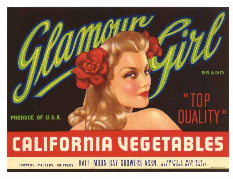 Glamour Girl Brand Vintage Half Moon Bay Vegetable Crate Label