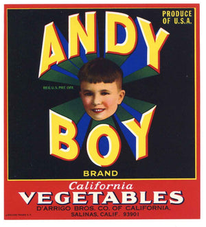 Andy Boy Brand Vintage Salinas Vegetable Crate Label