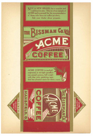 Acme Brand Vintage Mansfield Ohio Coffee Can Label