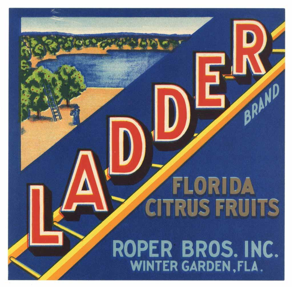 Ladder Brand Vintage Winter Garden Florida Citrus Crate Label 7x7