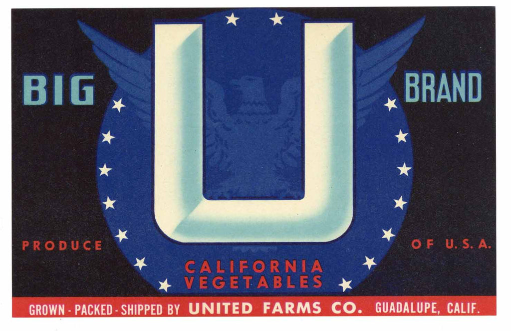 Big U Brand Vintage United Farms Vegetable Crate Label