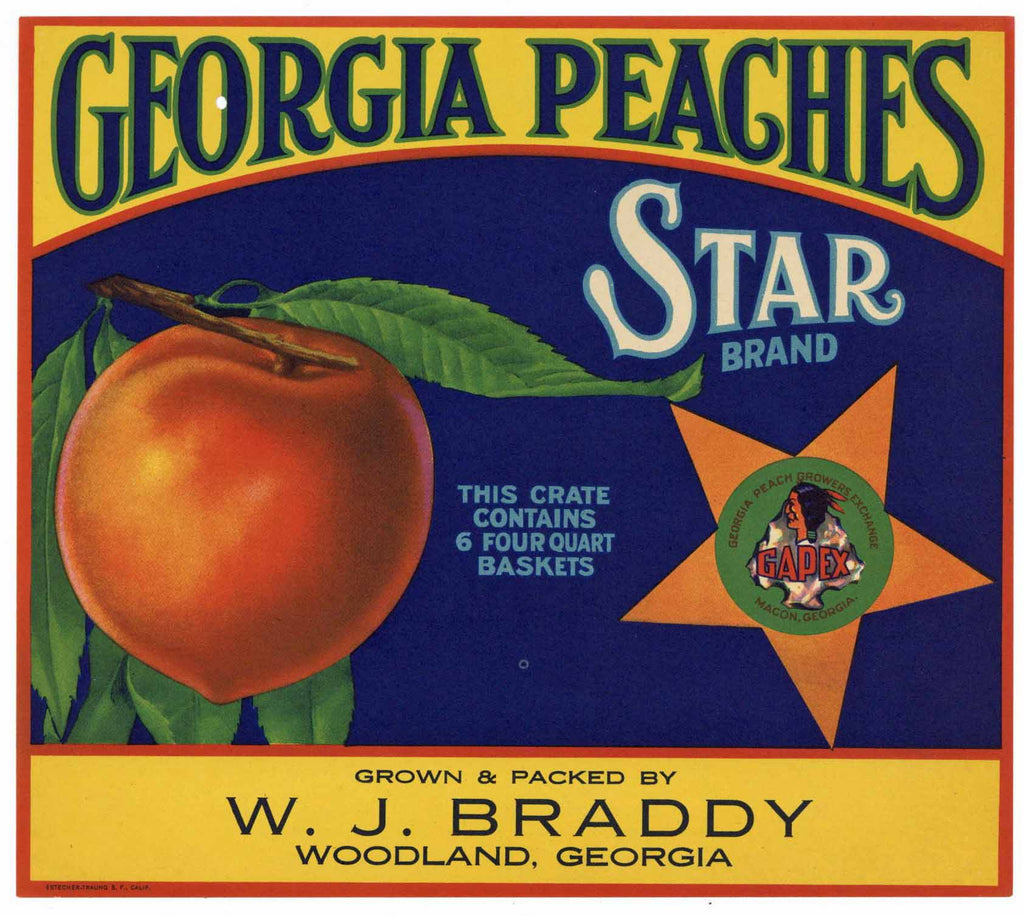 Star Brand Vintage Woodland Georgia Peach Crate Label