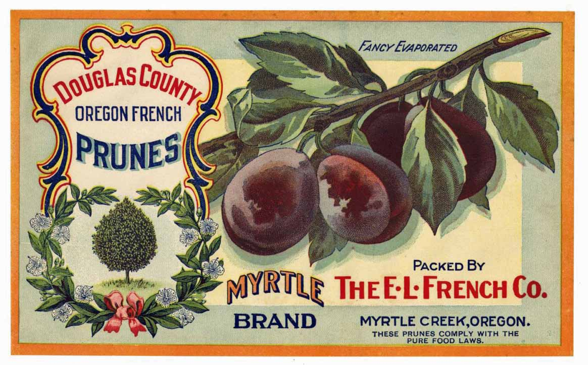 Myrtle Brand Vintage Oregon Prune Crate Label