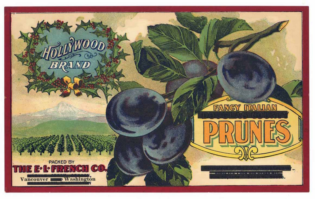 Hollywood Brand Vintage Washington Prune Crate Label