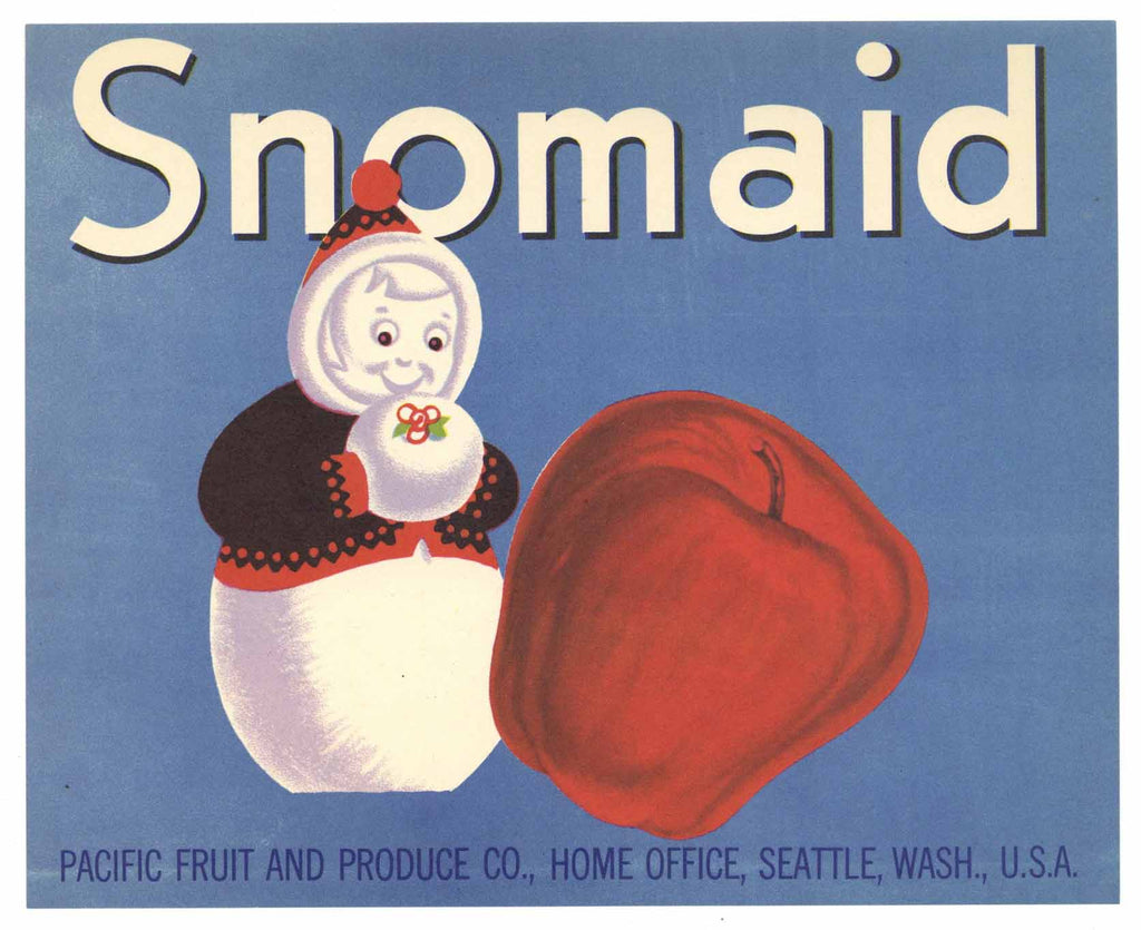 Snomaid Brand Vintage Washington Apple Crate Label, gp