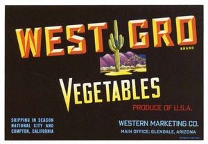 West Gro Brand Vintage Glendale Arizona Vegetable Crate Label