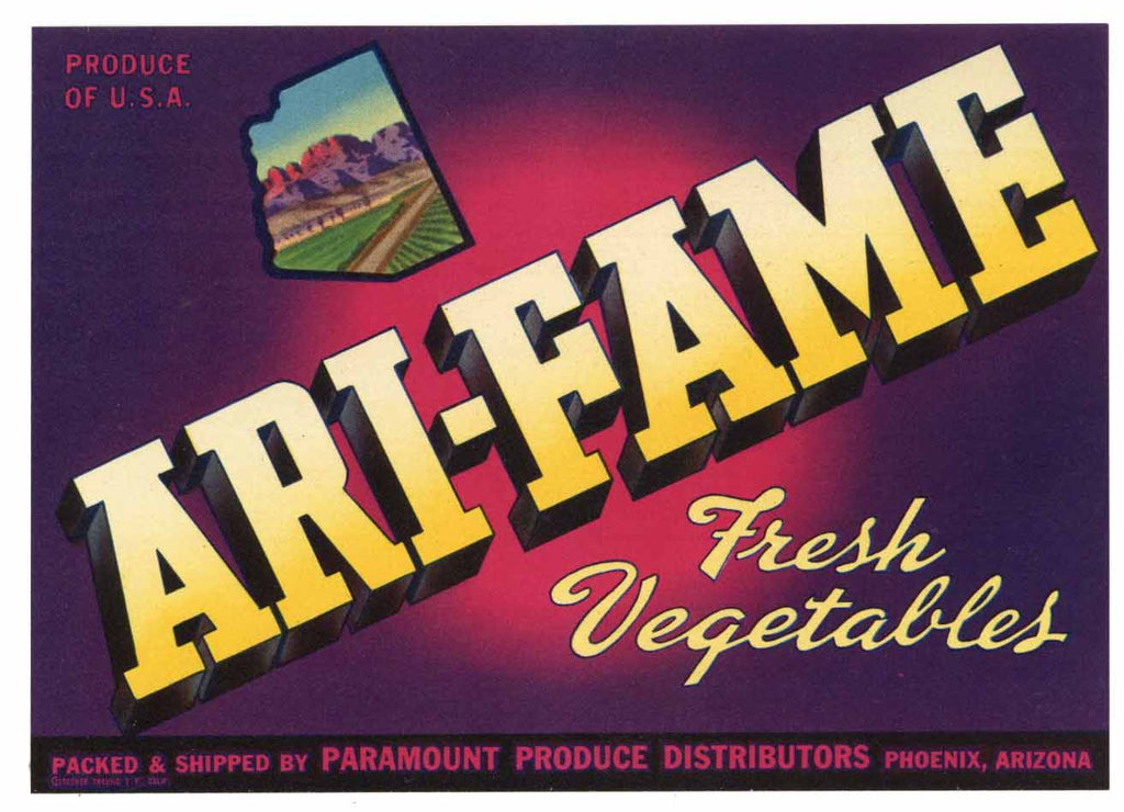 Ari-Fame Brand Vintage Phoenix Arizona Vegetable Crate Label