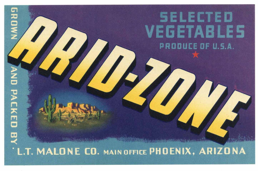 Arid-Zone Brand Vintage Phoenix Arizona Vegetable Crate Label