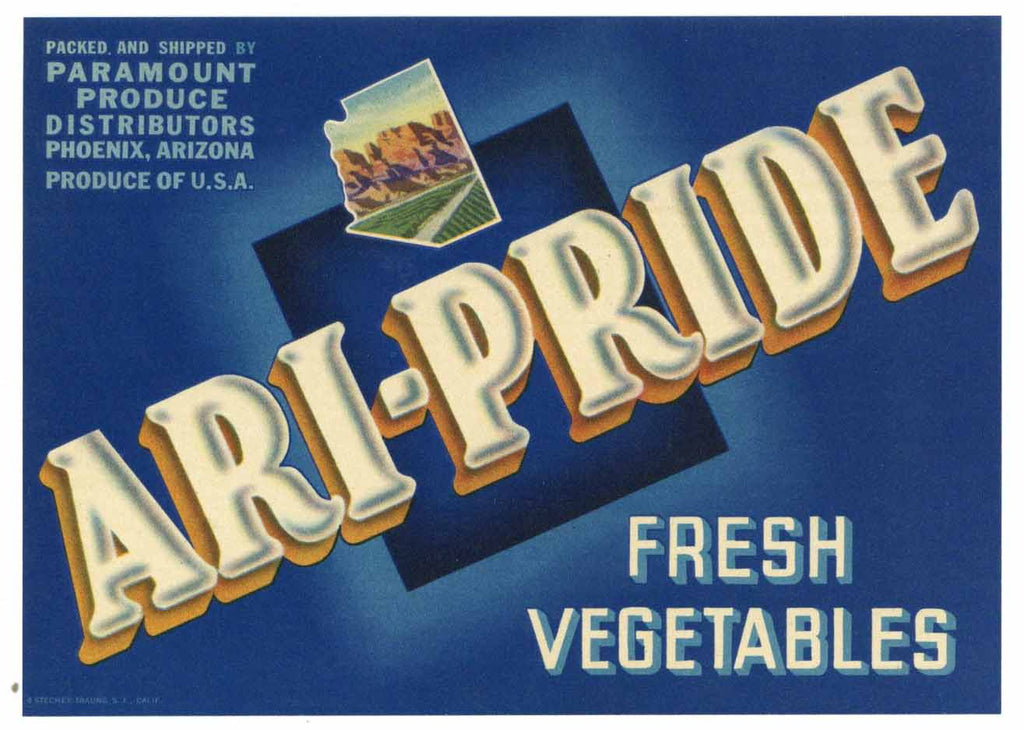 Ari-Pride Brand Vintage Phoenix Arizona Vegetable Crate Label